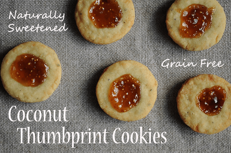 jam thumbprint cookies, grain free - The Herbal Spoon