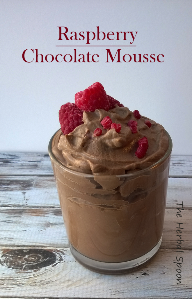 Raspberry chocolate mousse, dairy and refined sugar free via: The Herbal Spoon