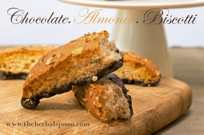 Chocolate almond biscotti, gluten and dairy free - The Herbal Spoon